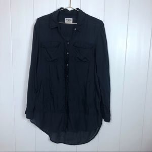 Anthro Holding Horses Navy Button Up Tunic Small